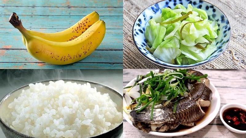 3 chén cơm, bắp cải luộc, cá lóc hấ